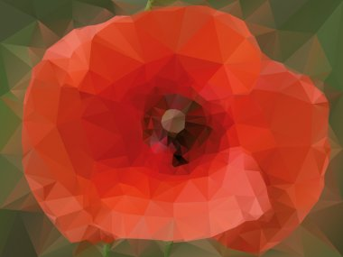 Poppy background with triangles