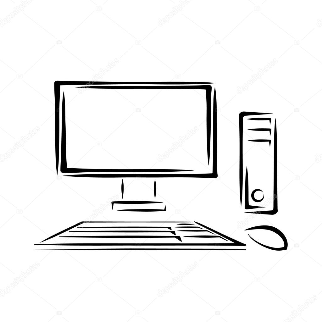 PC with keyboard and mouse sketch — Stock Vector © MartinStiavnicky