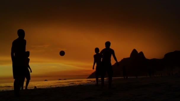 Silhouettes Playing Beach Soccer Rio de Janeiro Brazil