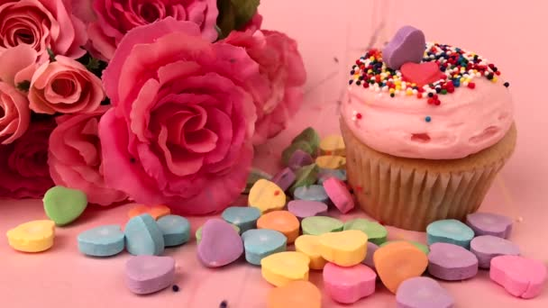 Valentines Day Love Scene with Candy Hearts Flowers Cupcake