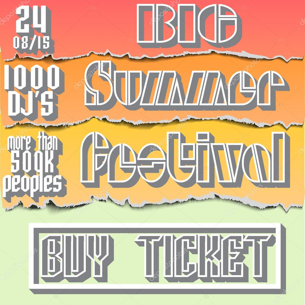 Vector brochure, flyer,poster for summer festival