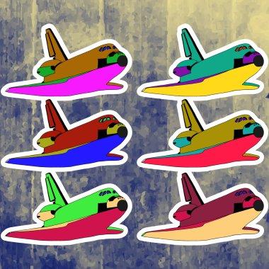 Pop art stickers set. Hand drawing retro shuttle illustration