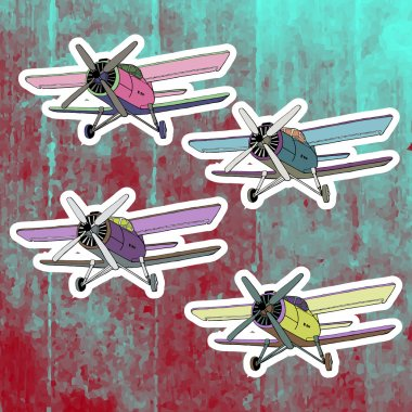 Pop art stickers set. Hand drawing retro airplane.Vector illustration