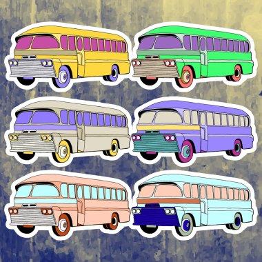 Pop art stickers set. Hand drawing retro bus.Vector illustration