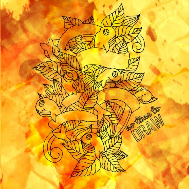 Detailed doodles with watercolor splash and paper texture. Vector illustration