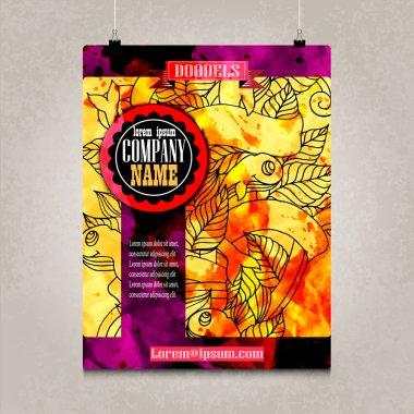 Business brochure design with detailed doodles. Vector illustration