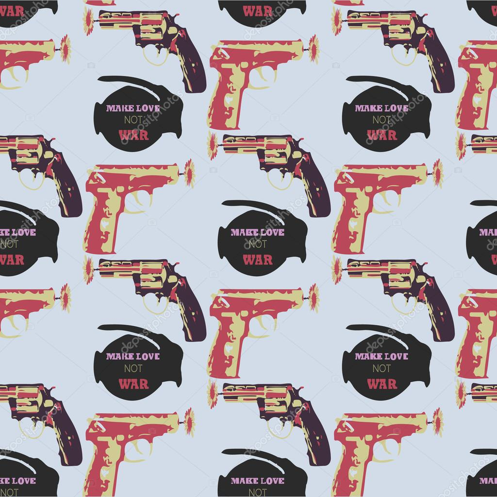 Hand drawn pop art  seamles pattern with colorfull guns