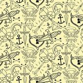 Fotografia Il modello senza cuciture tatuaggio con diversi elementi disegnati