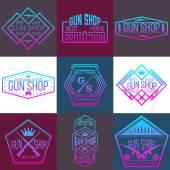 Fotografie Pistole shop logotypy a odznaky vektorové sada