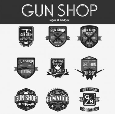 Gun shop logotypes and badges vector set