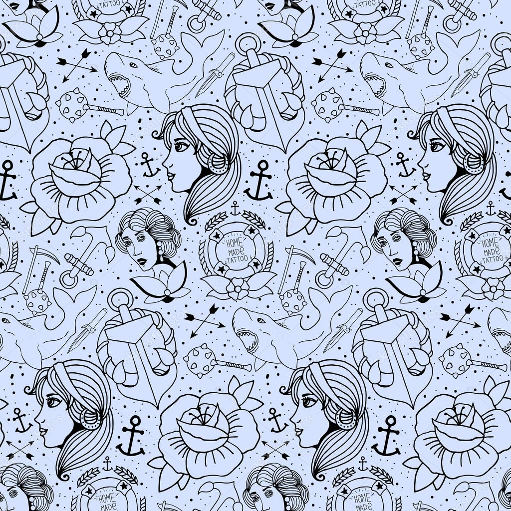 Tattoo seamless pattern with different hand drawn elements. Old school stock vector