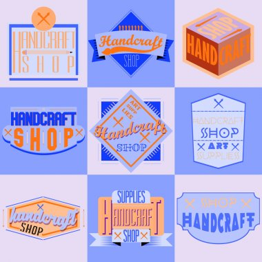 Color retro design insignias logotypes set. Handcraft arts and handmade illustrations. Vector vintage elements.