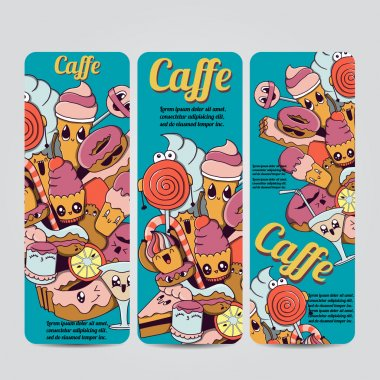 Vector hand drawn doodles caffe design banners,cards, postcards, brochures, invitation,letters and posters template set