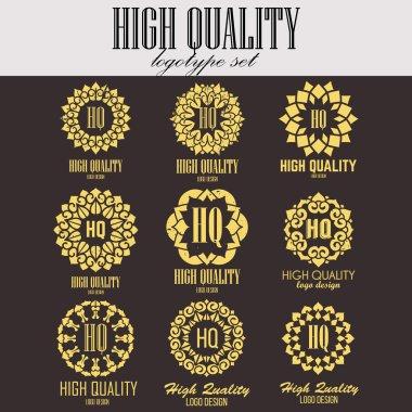 Ethnic logotype decorative element. Hand drawn elegant lineart logo design. Vector illustration. Islam, Arabic, Indian, ottoman motifs.