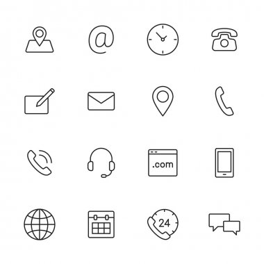 Contact us thin line icons for web and mobile app. clip art vector