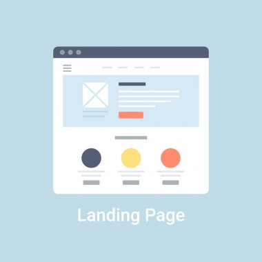 Landing page website wireframe interface template. Flat vector illustration on blue background stock vector