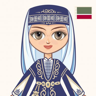The girl in Chechen dress. Historical clothes. Chechnya. Portrait. Avatar.