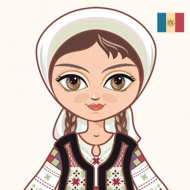 The girl in Moldavian dress. Historical clothes. Moldova. Portrait. Avatar.