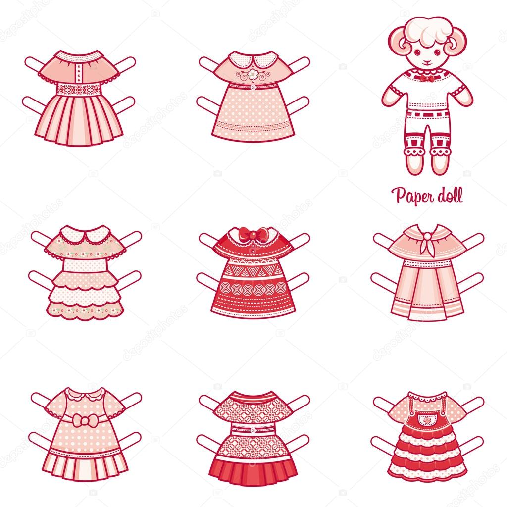 Paper doll with a set of fashion clothes. Cute sheep. Template for ...