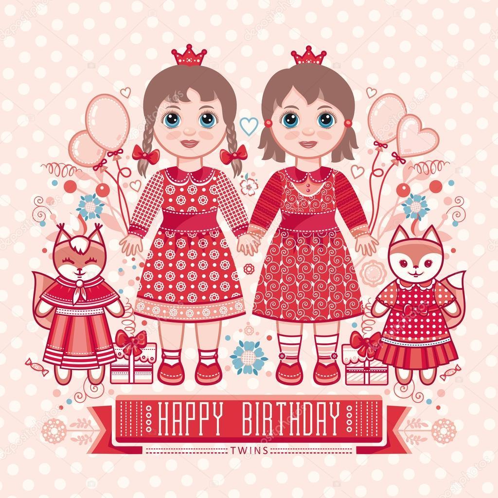 Картинки с днем рождения для девочек близняшек, картинки животными надписями