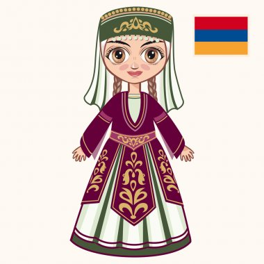 The girl in Armenian dress. Historical clothes. Armenia