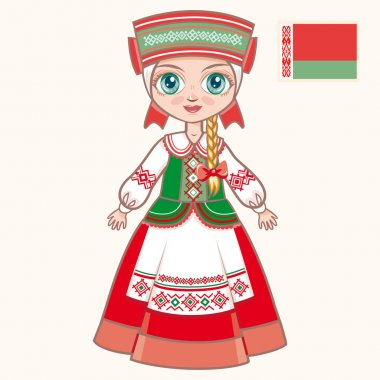 The girl in Belarusian dress. Historical clothes. Belarus