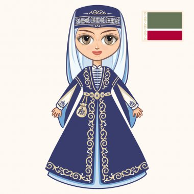The girl in Chechen dress. Historical clothes. Chechnya