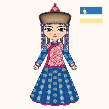 The girl in Buryat dress. Historical clothes. Buryatia