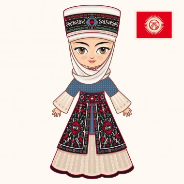 The girl in Kyrgyz dress. Historical clothes. Kyrgyzstan