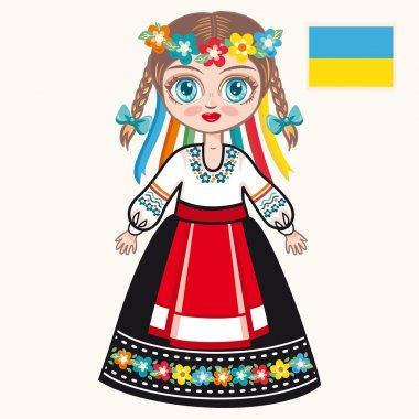 The girl in Ukrainian dress. Historical clothes. Ukraine
