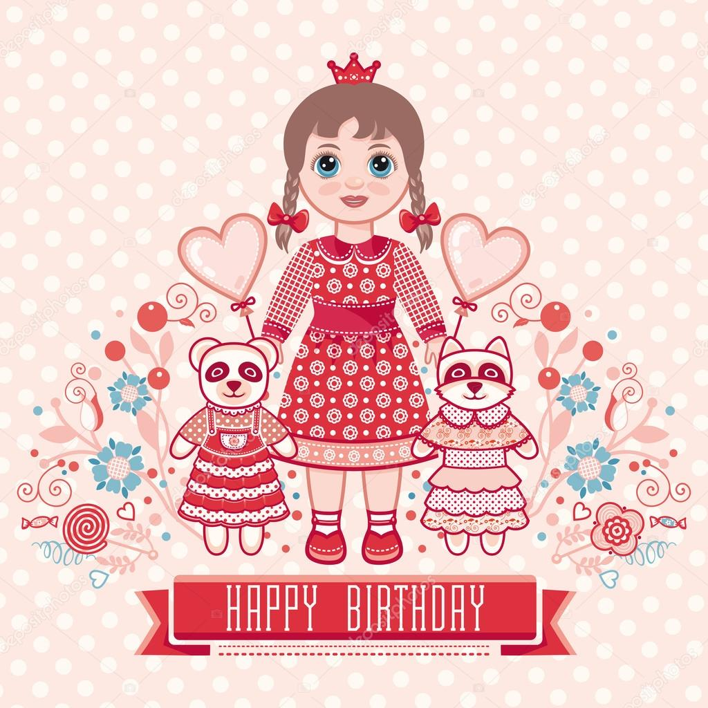 Happy birthday greetings card for girl illustration of cute happy birthday greetings card for girl illustration of cute little princess birthday m4hsunfo