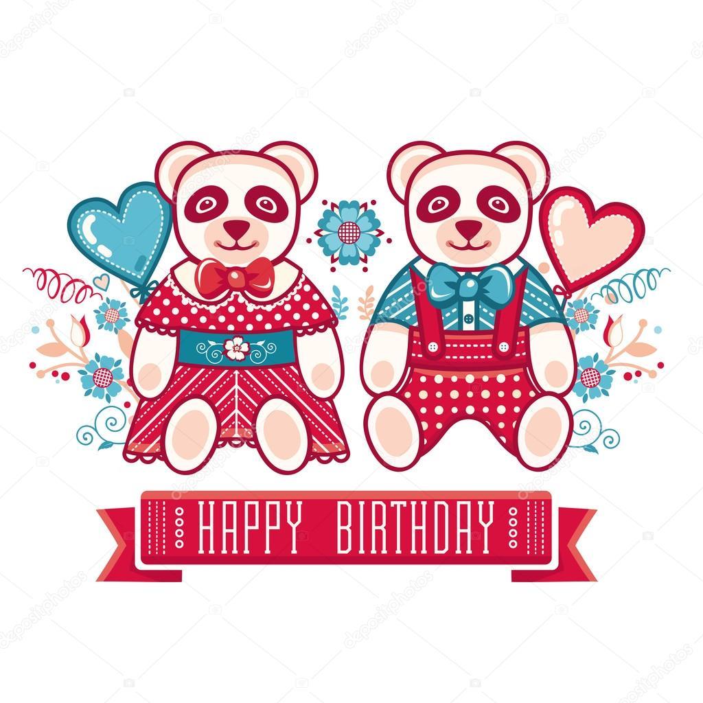 Birthday childrens birthday party newborn cute panda birthday childrens birthday party newborn cute panda congratulations invitation card greeting card vetor por zzn stopboris Choice Image