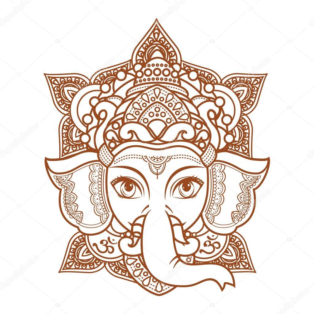 Vector Elefantes Hindues Cabeza De Elefante Hindú Ganesh Dios