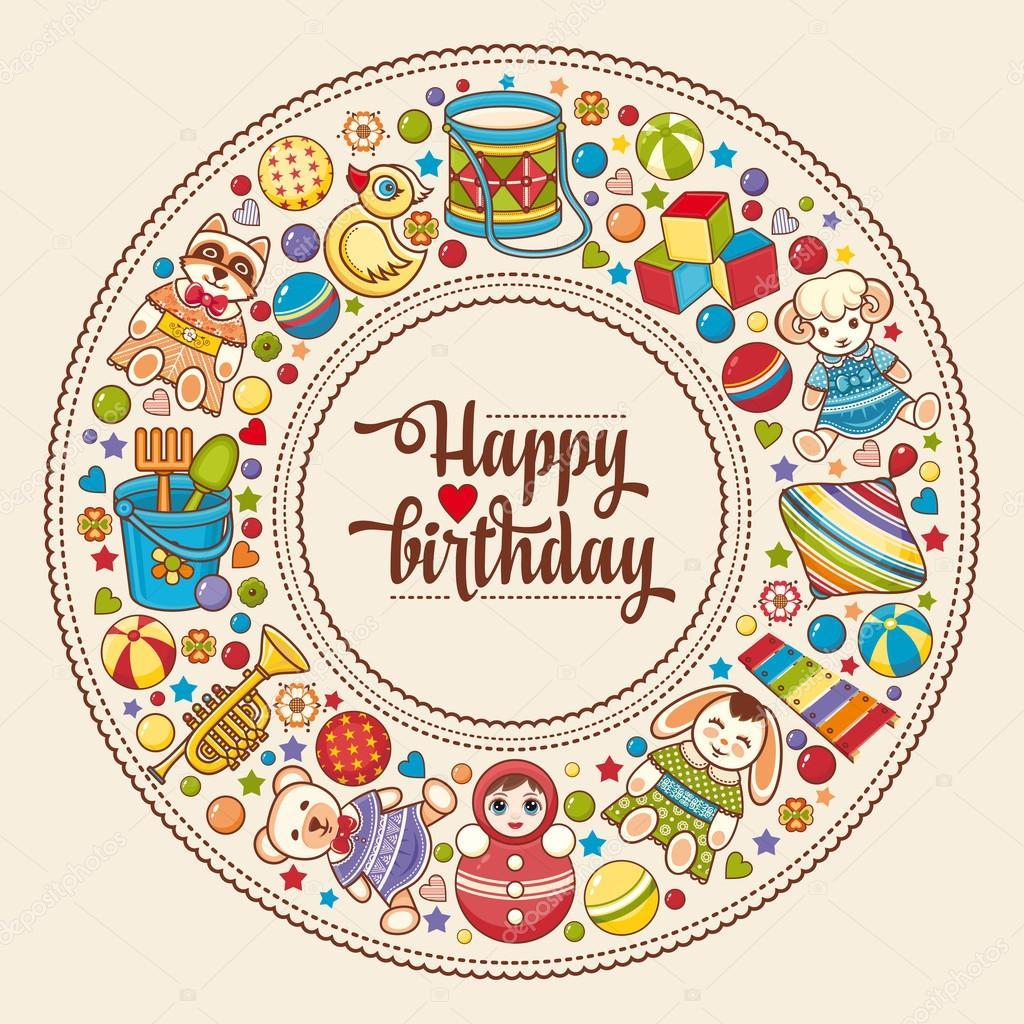 Tarjeta de felicitación del feliz cumpleaños. Marco redondo colorido ...