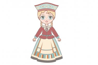 The doll in Estonian dress.