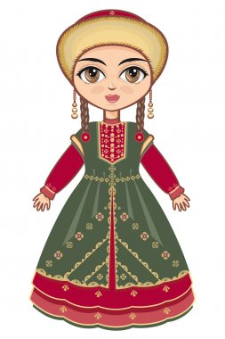 The girl in Bashkir dress. Historical clothes.
