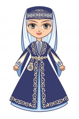 The girl in the Chechen suit. Historical clothes