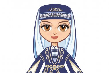 Portrait, avatar. The girl in the Chechen suit. Historical clothes