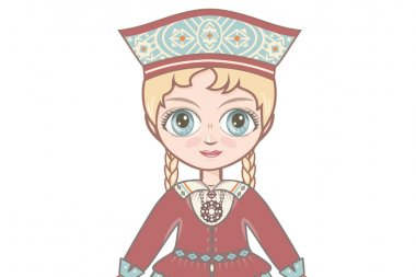 Portrait, avatar. The girl in Estonian dress. Historical clothes. Eesti suit