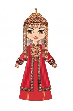 The girl in Turkmen dress. Historical clothes.