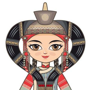 The girl in Buryat dress. Historical clothes. Portrait, avatar