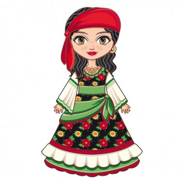 The girl in Gypsy dress. Historical clothes.