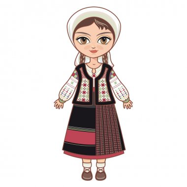 The girl in Moldavian dress.  Historical clothes