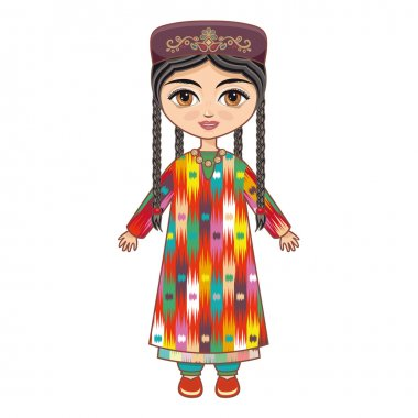 The girl in  Uzbek dress. Historical clothes.