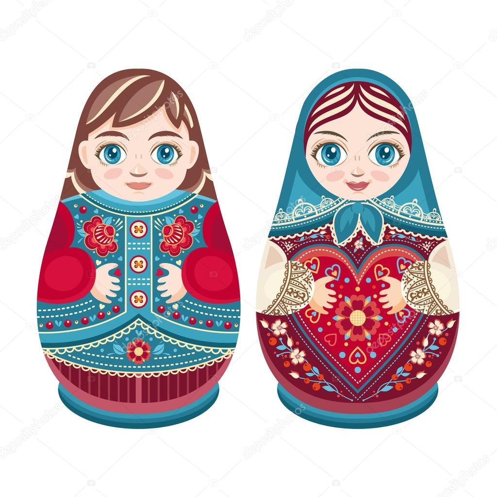 Matryoshka. Russian folk nesting doll. Boy and girl.