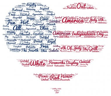 Tag cloud of 4th of july in the shape of flag in the heart