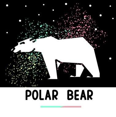 polar bear and aurora borealis
