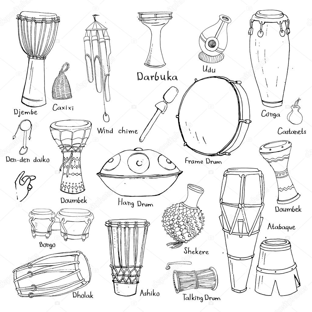 Pmages: percussion instruments and names | Drum sketches