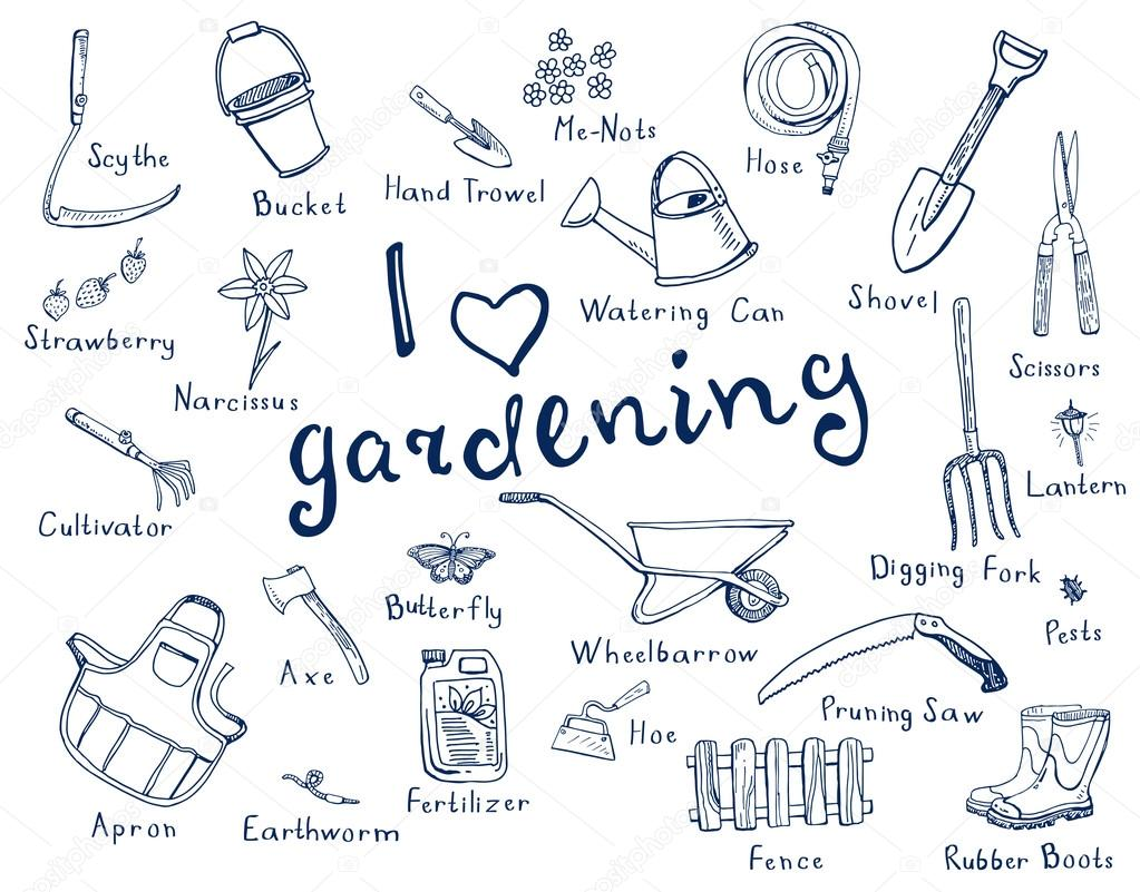 Gardening tools with names stock vector airdynamic for Garden hand tools names