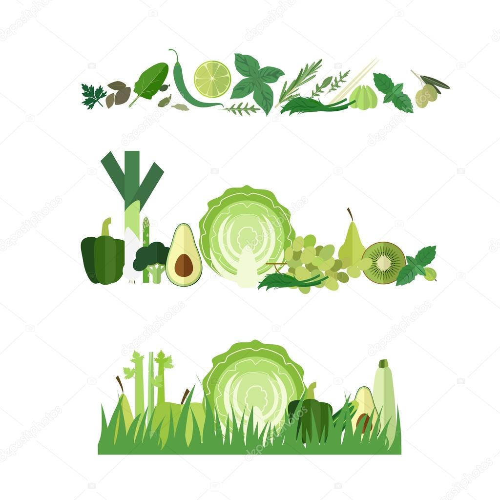 Green food banners
